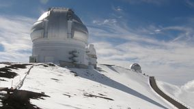 Snow observatory. Hawaian observatory on snow covered volcano Stock Images