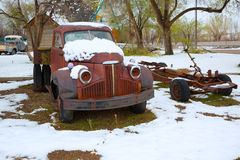 Snow old truck in the early spring time in Nevada Royalty Free Stock Photography