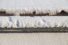 Free Snow On The Fence In Winter As A Background Royalty Free Stock Photos - 138839908