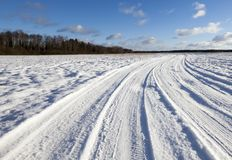 Snow On The Road Royalty Free Stock Photos