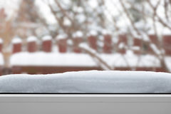 Snow On The Window Sill Royalty Free Stock Photos