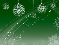 Snow, ornaments and snowflakes. On green Stock Images