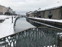 Snow in Otaru canel Asakusa bridge. Hokkaido tourist attraction Royalty Free Stock Photo