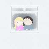 Snow outside the window. Boy and girl looking out the window Royalty Free Stock Photos