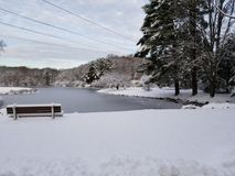 Snow over head wires. Lake wires overhead Stock Image