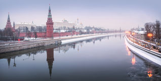 Snow Over Moscow. Snow over the Moscow Kremlin and the Moscow River Stock Photos
