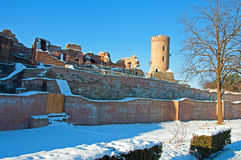 Snow over past ruins. Snow over past chindia tower ruins in targoviste city - the former capital of romania Royalty Free Stock Photography