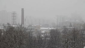 Snow over the production area stock footage