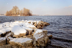 Snow Over the River Royalty Free Stock Photography