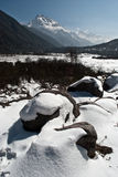 Snow over the rocks in Yumthang valley Stock Image