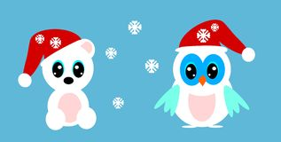 Snow owl and bear Stock Images