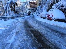 Snow på bilen royaltyfri fotografi