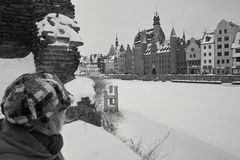 Snow på byggnader Royaltyfri Foto