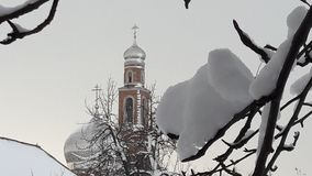 Snow på en förgrena sig för ligganderussia för 33c januari ural vinter temperatur Snö täckte vinterfilialer arkivfoton