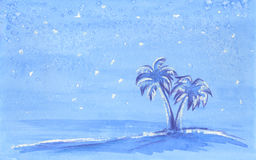 Snow on palms, hand painted blue watercolor Stock Photography