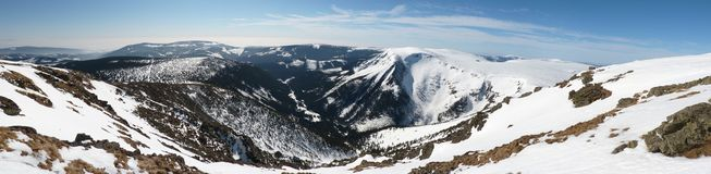 Snow panorama. Panorama view from czech highest mountain Snezka Royalty Free Stock Photography