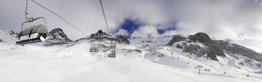 Snow Panorama ischgl. Fallen snow in the Austria town Ischgl Stock Photo