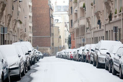 Snow in Paris royalty free stock photography