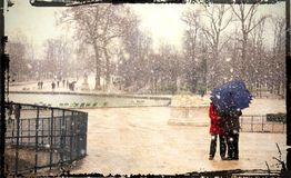 Snow in paris Stock Image