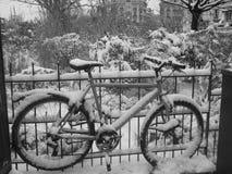 Snow in Paris stock photos