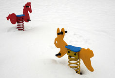 Snow in park. The snow in the children playground Stock Images