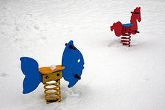 Snow in park. The snow in the children playground Stock Image