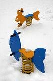 Snow in park. The snow in the children playground Royalty Free Stock Photos