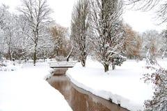 Snow in park Stock Image