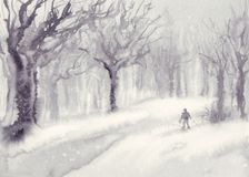 Snow in the park watercolor landscape Royalty Free Stock Image