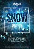 Snow Party Flyer. Abstract Winter Poster Background. Vector Illustration. Stock Image