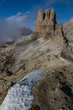 Snow Path and Massive Mountain-Dolomites,Italy Royalty Free Stock Image