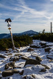 Snow Path to Snezka and Tourist Signpost-Krkonose Stock Images