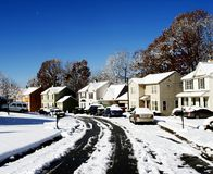 Snow Pathway Near at Houses Royalty Free Stock Photos