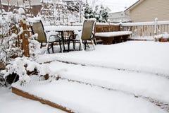 Snow on patio Stock Photo
