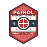 Snow patrol, first aid unit isolated label. Nature tourism badge, adventure outdoor emblem, expedition help vintage vector illustration Royalty Free Stock Photography