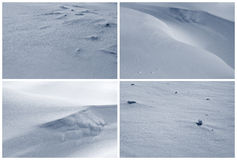 Snow pattern. Set of four winter abstract textured backgrounds / background / backdrop with snow surface pattern in white and blue illuminated by sun with light Stock Image