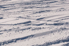 Snow pattern traces skis Stock Image