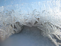 Snow pattern on winter window Royalty Free Stock Photo