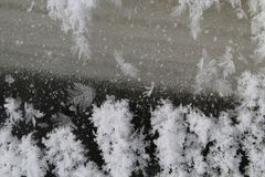 Snow patterns on the ground stock images