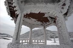 The snow in the pavilion. This pavilion is covered by snow.Maybe Last night' storm caused a scene of today Stock Images