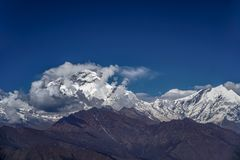 Snow Peak of Dhaulagiri Mountain in the Himalayas in Nepal. View from Poon Hill.  stock images