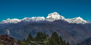 Snow Peak of Dhaulagiri Mountain in the Himalayas in Nepal. View from Poon Hill.  stock photography