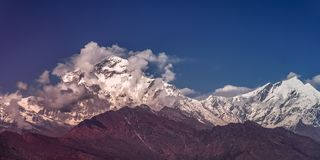 Snow Peak of Dhaulagiri Mountain at Sunset in the Himalayas in Nepal.  stock image