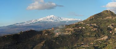 Snow peak of Etna volcano seen from Taormina Royalty Free Stock Photo