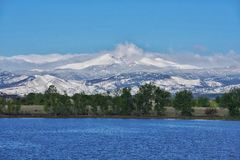 Snow peak view from a lake. This is an epic Colorado scenery.  Snowcapped mountain in the distance from crystal clear lake Royalty Free Stock Photo