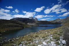 Snow peaks, lakes and mountains in Peru royalty free stock images