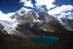 Snow peaks and lakes in Peru royalty free stock image