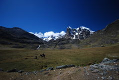 Snow peaks and mountains  in Peru stock photography
