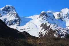 Snow on the peaks of Norway Royalty Free Stock Images