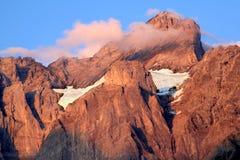 Snow between the peaks of the Swiss Wetterhorn royalty free stock photos